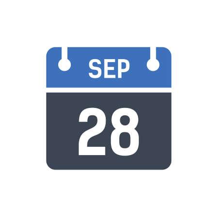 Calendar Date Icon - September 28 Vector Graphic