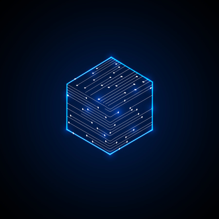 Cubic abstract microcircuit. Digital  Background