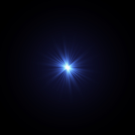 Illustration of a shining star or flare, many rays from one point