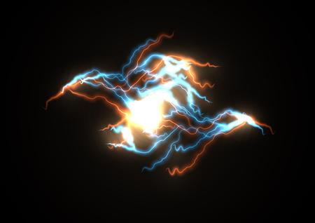 Fulmine ramificato, impatto dell'energia luminosa. Illustrazione della tempesta, la forza dell'elettricità statica degli elementi. Vettoriali