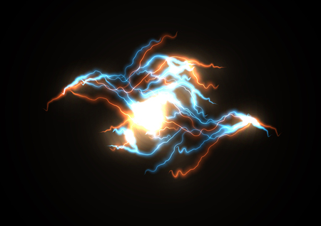 Branched lightning, the impact of light energy. Illustration of storm, the strength of the elements static electricity.