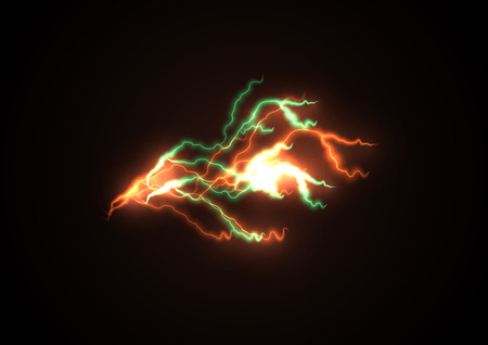 Branched lightning, impact of light energy illustration.