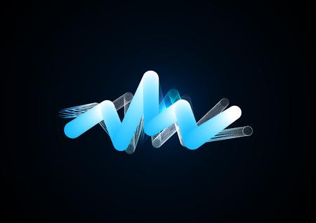 Dessin dynamique d'un flyer à partir de tubes volumétriques et de ressorts réticulaires. Design créatif