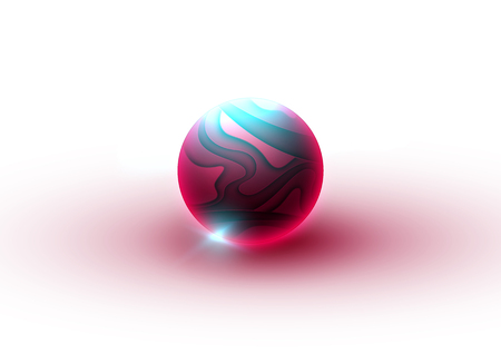 A glowing neon ball. Abstraction in the form of a sphere from many layers of paper. Glass sphere or ball. Bubble with a muddy texture Ilustrace