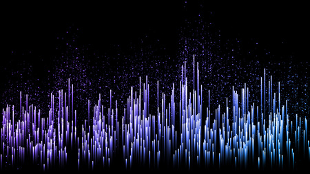 Poster of the sound wave from equalizer. Vector illustration on dark background. Dark sonic wave