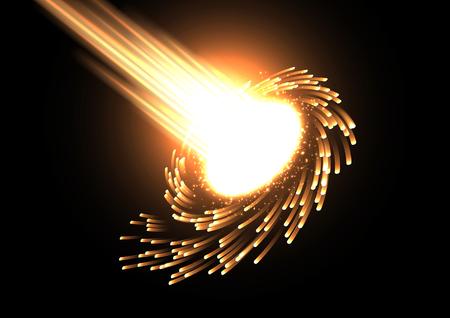 Vórtice de vector suave sobre un fondo oscuro. El ciclo de la galaxia. El flujo de luz desde el centro de la galaxia. Un quásar gigante. Fondo abstracto.