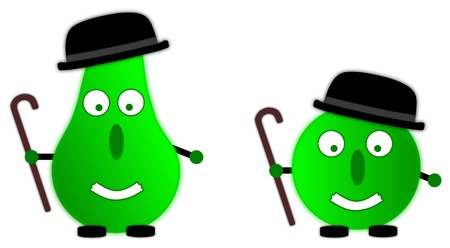 healty: two characters (apple and pear) with wand and bowler