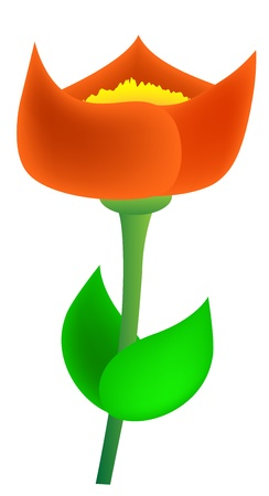 devised: devised red flower with green leaves