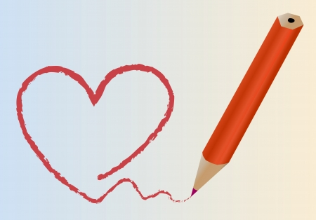 heart painted by pencil Stock Vector - 16784006
