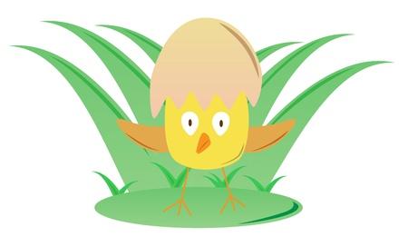 яичная скорлупа: Курица с пасхальными яичная скорлупа шлема Иллюстрация