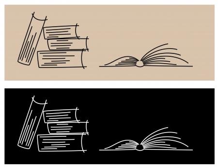 illustratie van boeken van lijnen - licht en donker Stock Illustratie