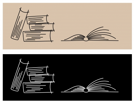 illustration of books from lines - light and dark
