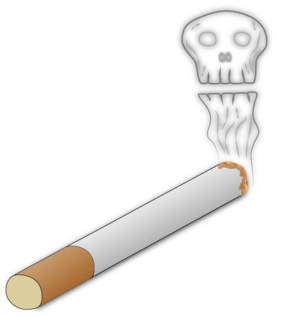 smoking cigarette and dangerous skull smoke Stock Photo - 17293840