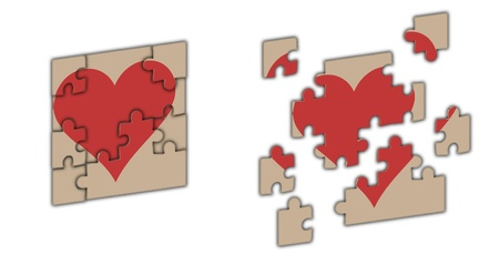 heart divided into few parts as puzzle game Stock Photo - 17293834