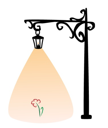 old black street lamp with candle and colored flower Stock Vector - 17293820