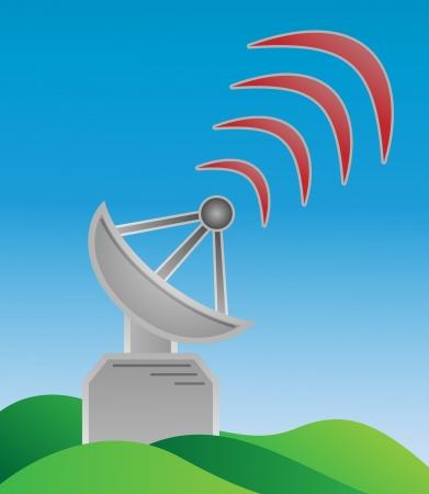 gray metal transmitter sending signal into space Stock Vector - 17293823