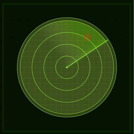 green radar screen with red circle indicate coming enemy Stock Vector - 17452996