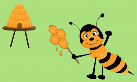 mead: sweet bee with honey lollipop and beehive Illustration