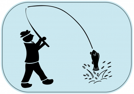 sportfishing: silhouette of fisherman with fishing rod and catched fish Illustration