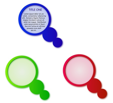 three colors of circle label with bubbles Stock Vector - 17595254