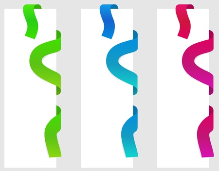 three colors of ribbon (blue, red, green) in top corner and right site of paper Vector
