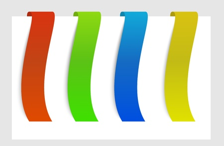 four colors of ribbon (red, green, blue, yellow) on top of the paper Vector