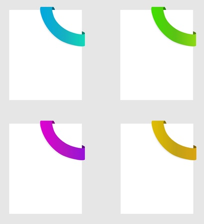 four colors of rounded ribbon (blue, green, purple, yellow) in corner of the paper Vector