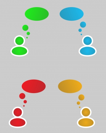siluet: color (green, blue, red, yellow) siluets with thinking bubbles Illustration