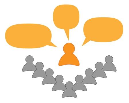 siluets - orange speaker or teacher with bubbles and gray listeners 版權商用圖片 - 17980464