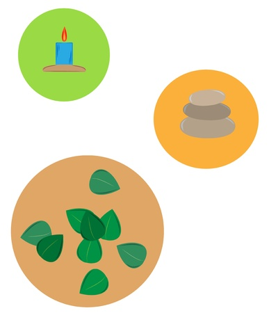 three wellness icons - candle with flame, stones and leaves Stock Vector - 18047969