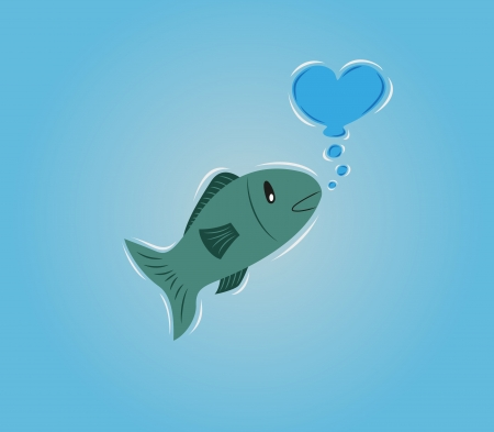 fish in water makes bubble heart Vector