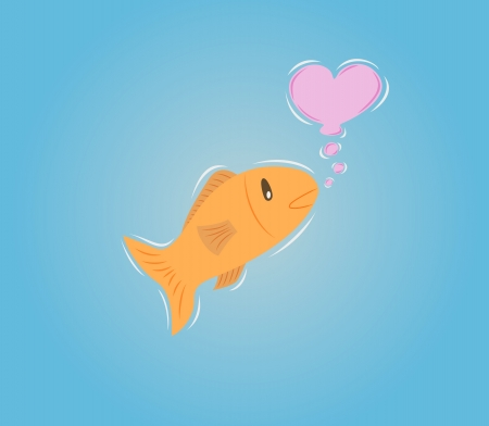 goldenfish in water makes bubble heart Vector