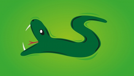 green snake with open mouth on the green background Stock Vector - 18960699