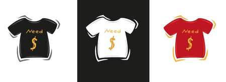 beg: three color t-shirts with text - need money