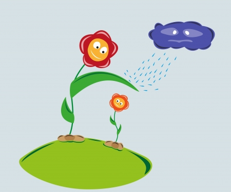 weaker: strong flower protect weaker flower against rainy cloud Illustration