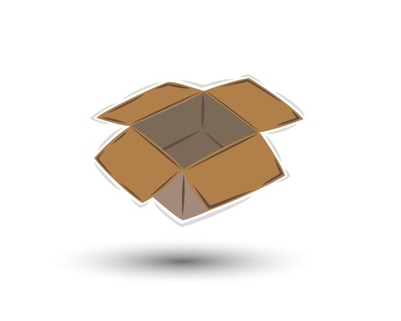 pasteboard: empty open brown paper box with shadow