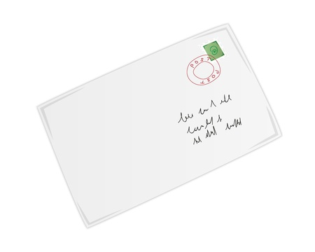 postal envelope with marked postage stamp and address Vector