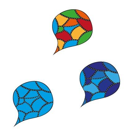 geteilt: drei speking Blase in einigen Teilen von Farben differenziert unterteilt