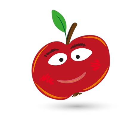 gleeful: red funny and smiling apple with eyes and mouth