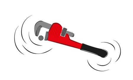 pipe wrench: motion of the red pipe wrench and screw