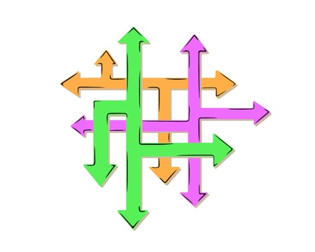 different ways: net of arrows as symbol of many different ways