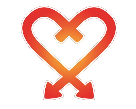 two linked arrows as a love symbol between two people joined together