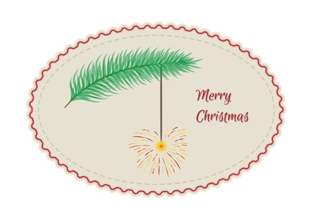 sparkler: retro merry christmas sign card with branch and flaring sparkler