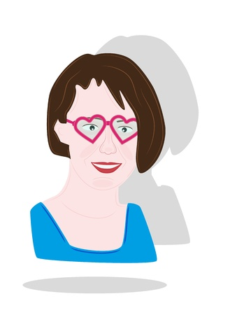 adoring: pretty girl with heart glasses and brown hair, smiling girl Illustration