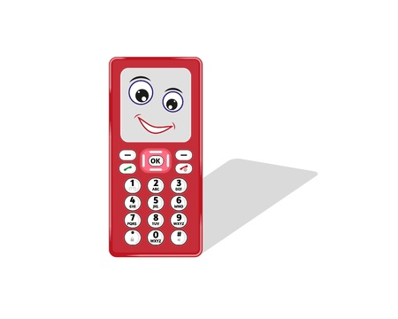 comic phone with eye and smile and shadow Stock Vector - 20696843