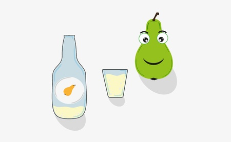intoxicant: pear, short glass and bottle with pear stuff