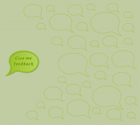 contentedness: gradient give me feedback speech bubble with empty bubbles as a symbol of answer or given feedback