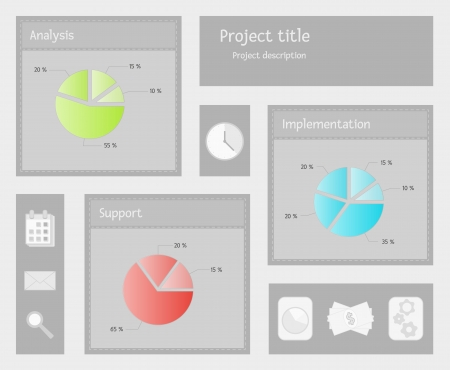 implementation: list of the pie graphs of analysis, implementation and support and few business icons