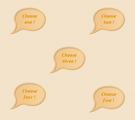urge: speak bubbles with text Choose one , two , three , four and five