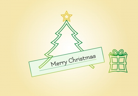 Christmas card with tree, star and gift including text Merry Christmas Vector
